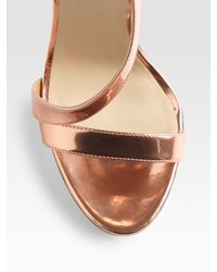 B Brian Atwood - Metallic Strappy Sandals - Lyst