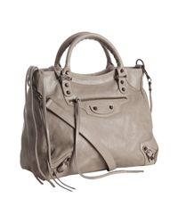 Balenciaga | Gray Grey Lambskin City Medium Satchel | Lyst