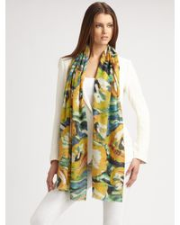 Bindya | Yellow Cashmere-blend Floral Scarf | Lyst