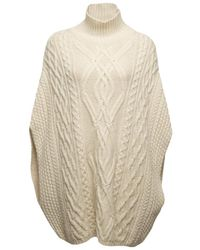 Chloé | Natural Cable Knit Poncho | Lyst