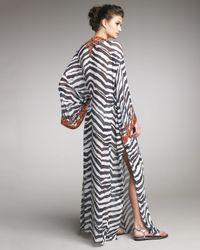 Emilio Pucci | Black Coral-beaded Zebra-print Caftan | Lyst