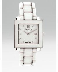 Fendi | White Ceramic Square Watch | Lyst