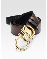 Ferragamo | Brown Reversible Double Gancini Brass Buckle Belt for Men | Lyst