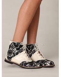 Free People | Black Beatrix Lace Boot | Lyst