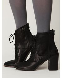 Free People | Black Saffi Lace Boot | Lyst
