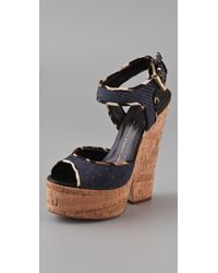Giuseppe Zanotti | Blue Cork Cutout Wedge Sandals | Lyst