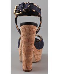 Giuseppe Zanotti   Blue Cork Cutout Wedge Sandals   Lyst