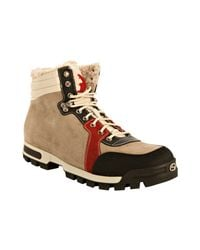 Gucci | Natural Beige Suede Shearling Hiking Boots for Men | Lyst