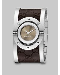 Gucci | Brown Stainless Steel & Leather Cuff Watch | Lyst