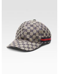 Gucci   Gray Canvas Baseball Hat for Men   Lyst
