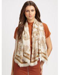 Gucci - White Aliz Printed Shawl - Lyst