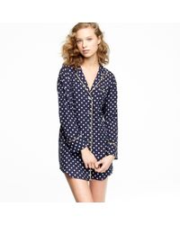 J.Crew | Blue Polka-dot Washed-silk Sleep Shirt | Lyst