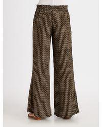 Joie   Natural Charleen Owl-Print Silk Flare-Leg Pants   Lyst