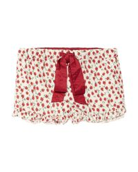Juicy Couture - Red Floral-print Cotton Pajama Shorts - Lyst