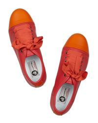 Lanvin - Pink Color-Block Leather Sneakers - Lyst