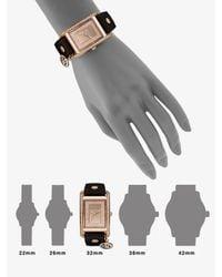 Michael Kors - Brown Rectangular Leather Strap Watch - Lyst