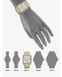 Michael Kors - Metallic Crystal Accented Rectangle Chronograph Watch/goldtone - Lyst