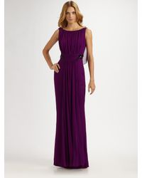 Notte by Marchesa | Purple silk chiffon gown | Lyst
