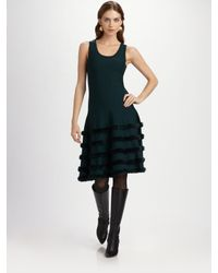 Oscar de la Renta | Gray Fur-Trimmed Cashmere Dress | Lyst