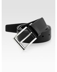 Prada | Black Perforated Leather Belt for Men | Lyst