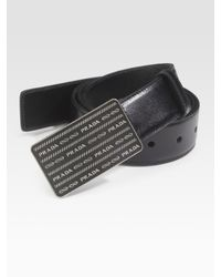 Prada | Black Vitello Lux Leather Belt for Men | Lyst
