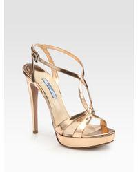 Prada | Metallic Platform Sandals | Lyst