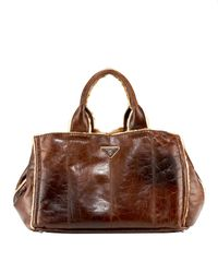 Prada | Brown Shearling Tote | Lyst
