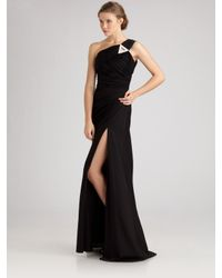 Robert Rodriguez | Black One-Shoulder High-Slit Gown | Lyst