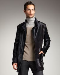 Theory | Gray Double-breasted Pony Hair Jacket for Men | Lyst