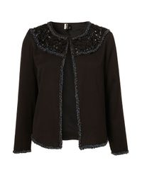 TOPSHOP | Black Premium Embellished Bib Jacket | Lyst