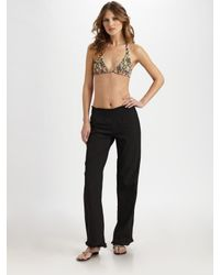 Tori Praver Swimwear | Black Cotton Flare Pants | Lyst