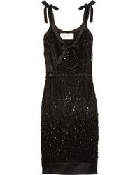 Valentino | Black Beaded Silk-satin Dress | Lyst