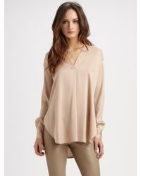 Vince - Pink Silk V-Neck Tunic - Lyst