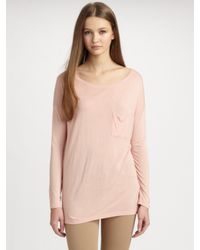 Vince | Pink Long-Sleeve Pocket T-Shirt | Lyst