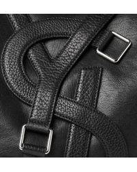 Saint Laurent Black Leather Vavin Logo Buckle Large Tote for men