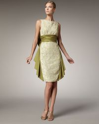 Badgley Mischka | Green Lace & Bow Back Dress | Lyst