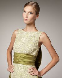 Badgley Mischka - Green Lace & Bow Back Dress - Lyst