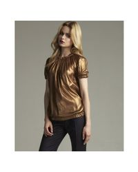 Dolce & Gabbana | Bronze Metallic Silk Bubble Sleeve Blouson Top | Lyst