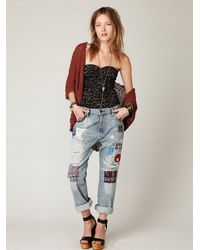 Free People | Blue Levis Lvc Patch Boyfriend Straight Leg | Lyst
