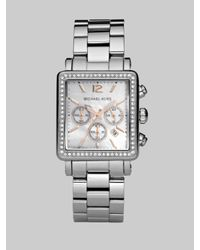 Michael Kors | Metallic Crystal Chronograph Rectangular Bracelet Watch | Lyst
