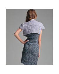 RED Valentino - Gray Grey Rabbit Fur Tie Neck Bolero Jacket - Lyst