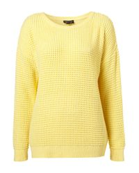 TOPSHOP | Yellow Knitted Textured Stitch Jumper | Lyst