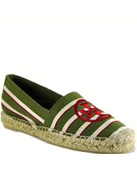 Tory Burch | Green Canvas Striped Slip-on Espadrille | Lyst