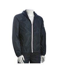 Prada | Blue Nylon Zip Front Hooded Windbreaker for Men | Lyst