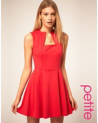 ASOS Collection - Pink Asos Petite Square Neck Fit and Flare Dress - Lyst