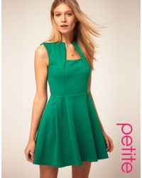 ASOS Collection - Green Asos Petite Square Neck Fit and Flare Dress - Lyst