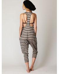 Free People Black Linen Striped Romper