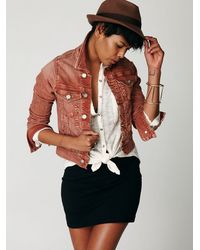Free People | Brown Classic Denim Jacket | Lyst