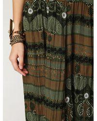 Free People - Green Crinkled Sheer Printed Jumpsuit - Lyst