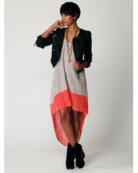 Free People | Gray Hi Low Color Block Dress | Lyst